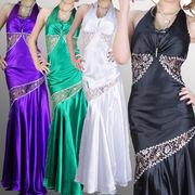 サテンホルター ウエストレース ビーズスパンロングドレス