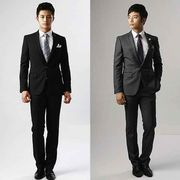 スーツセットアップメンズ紳士男性1つボタンビジネススーツ/スリムスーツウォッシャブルスラックス