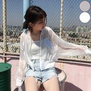 【即納】ジャケット 羽織り シースルー レディース 日焼け対策 冷房対策 ノーカラー MA-1 ドルマン