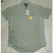 55DSL 格子チェックサイド切替 プリント入り半袖シャツ