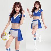 【即日出荷】白青  パンツ 上下セット  チアガール レースクイーン コスプレ衣装【7706】
