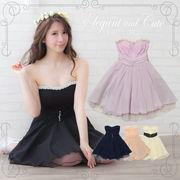 【人気商品】レース&編込み風パール装飾フレアミニドレス
