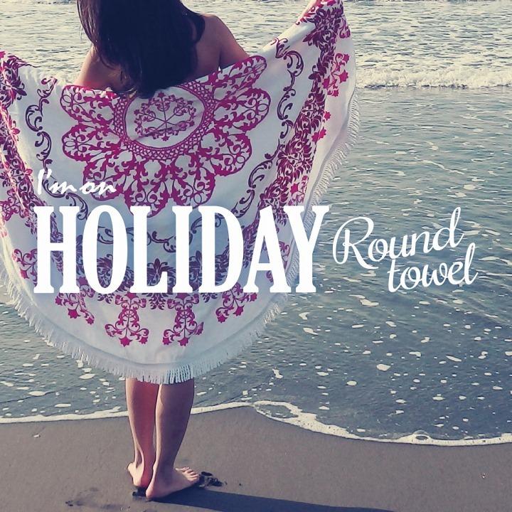【在庫限りセール】ラウンドタオル I'm on holiday ビーチタオル