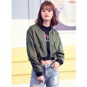 ガーベラレディース 韓国風 ファッション 背中ファスナー ショート丈 ジャケット mb12308-1