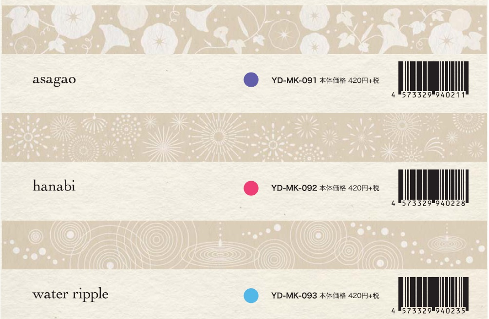 ROUNDTOP yano design White summer マスキングテープ 3柄【2016_6_15より】