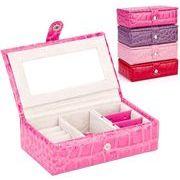 ジュエリーケース 4色 ミニ アクセサリー収納 雑貨 小物入れ 宝石箱 鏡付き