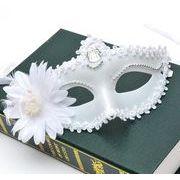 ハロウィーン 万聖節 レースマスク 仮面 花付けのマスク ホワイト