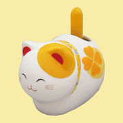ゆらゆらソーラー 風水座り猫/黄