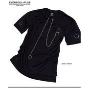 ★ロングシルエットがGOOD!★袖や背中のベルト&リング使いがパンキッシュなデザインTシャツ★