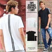 【improves】テープ使いデザイン半袖Tシャツ
