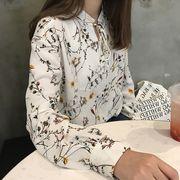 レディーストップス 花柄長袖ブラウス ボタニカルトレンド スタンドネックシャツ リボンプリント