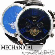 自動巻き腕時計 ATW001 無反射コーティングブルーガラス トリプルカレンダー 機械式腕時計 メンズ腕時計