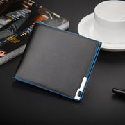 メンズ 二つ折り財布 高品質 合成皮革 カードポケットSIMカード入れ付き 軽くお持ちやすい