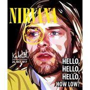 ポップアートフレーム 壁掛け 25cm×25cm kurt_Cobain(NIRVANA)