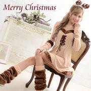 0913トナカイ4点セット Christmas 衣装 コスプレ サンタクロース コスチューム