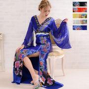 0551フラワーシフォンロング着物ドレス 和柄 衣装 ダンス よさこい 花魁 コスプレ キャバドレス
