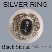 CSs / 1-1050-16 ◆ Silver925 シルバー リング ブラックスター カレッジリング タイプ