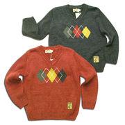 英国紳士風暖かVネックウールセーター(濠Du)95-140cm