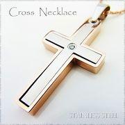 ステンレス ネックレス 十字架 クロス シルバー ピンクゴールド レディース メンズ アクセサリー