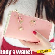 【ピンク他全8色】可愛いチャーム付き長財布 レディース財布 婦人財布
