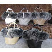 PMサイズ レディースフォックスファー(毛皮) 本革トートキューブバッグ ハンドバッグ