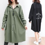【秋冬新作】ファッションワイシャツ♪ブラック/ダークグリーン2色展開◆