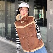 毛レザーの襟 レザー 毛レザー ベスト 韓国風 秋冬 女 ファッション 何でも似合う ノ