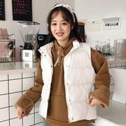 秋冬 新しいデザイン 韓国風 ルース 手厚い 襟 学生 暖かい ベスト コットンコート