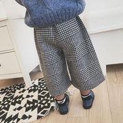 秋冬 新しいデザイン 韓国風 キッズ洋服 女児 気質 グリッド カジュアルパンツ ワイド