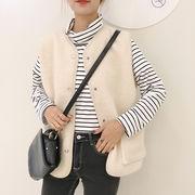韓国 秋服 ベスト ベスト 女 ルース ノースリーブ 単一色 シンプル 子羊ウール レジ