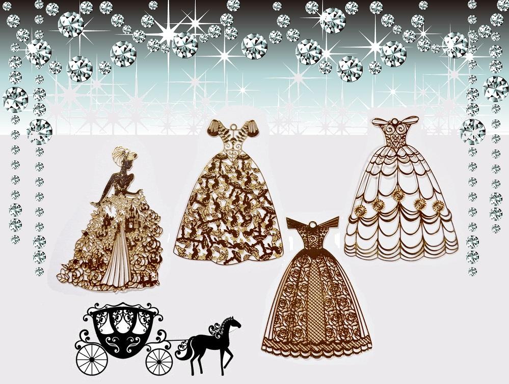 【オリジナルデザイン極薄メタルパーツ】ドレス/馬車/プリンセス/天使パーツ 銅99%高品質