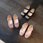 春 新しいデザイン 女児 革靴 クリスタル プリンセスの靴 スキッド フラッツ 大 靴