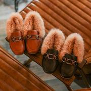 冬 新しいデザイン 児童 革靴 韓国風 女児 ふわふわシューズ 男児 裏起毛 赤ちゃん