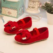 児童 ピーズ靴 春 新しいデザイン 韓国風 靴 女児 プリンセスの靴 スエード 革靴 赤