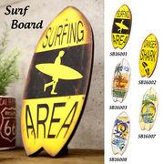 サーフボード型★ウッドサーフボード★スタンド付で壁掛けにも♪【Antique WoodBoard】