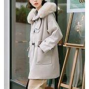 コート 防寒保暖 ゆったり 無地 フード付き モコモコネック 毛襟 韓国風 全2色 r3000483