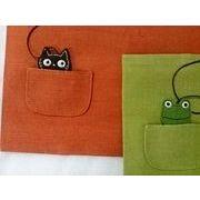 猫とカエルのポケットブックカバー キョロリカエル 猫 パンダ追加