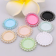 2個 レジン用セッティング ミール皿 UVレジン用品 ラインストーン付き 8色 パステルカラー 円形