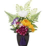 ポピー 造花 仏花 仏壇マムポット 全長28cm・幅23cm M ミックス
