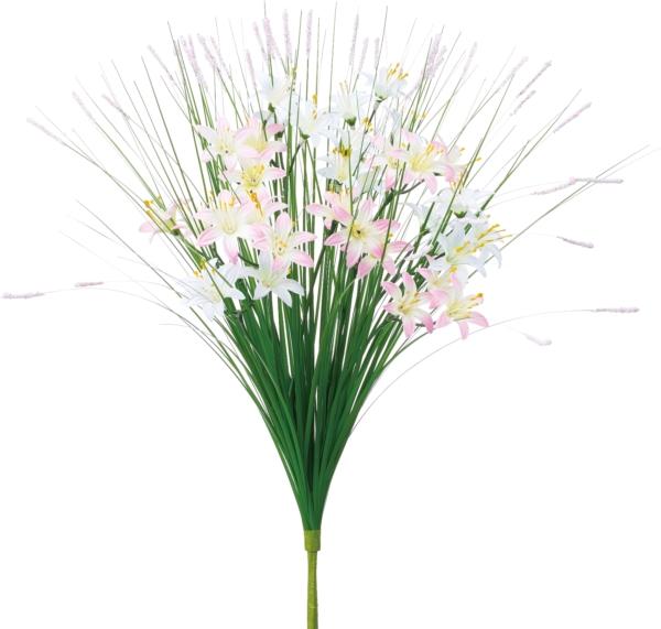 ポピー 造花 仏花 グラスワイルドフラワーブッシュ 全長44.5cm・花径4.5cm ホワイトピンク