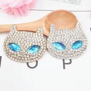 青い目を持つ猫 猫顔 キラキラ人気DIYデコパーツ 動物 デコパーツ手芸 クラフト 生地 材料全2色