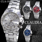 【選べるケース有or無】 CLAUDIA 腕時計 数字 男性用 メタルバンド ウォッチ◇CLA-1036R