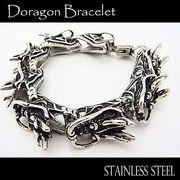 ステンレス ブレスレット メンズ レディース ドラゴンヘッド 8連 ブレス 腕輪 シルバー アクセサリー