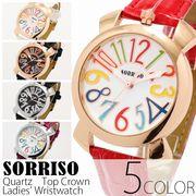 正規品SORRISOソリッソ 上部リューズのミッドサイズケースにイタリアンデザイン SRF9 レディース腕時計