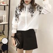 【一部即納】シャツ 刺繍 刺繍シャツ レディース 長袖 ブラウス ダンガリーシャツ 白シャツ トップス