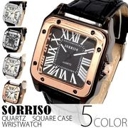 正規品SORRISOソリッソ 高級感漂うスクエアケース ローマ数字のシンプル上品時計 SRHI9 メンズ腕時計