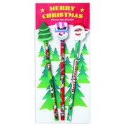 クリスマス消しゴム付鉛筆(3本セット) /クリスマス 文具 鉛筆 消しゴム ノベルティ