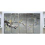 5パネルセット 太い枝に咲く黄色い花 絵画 油絵 風景画 壁掛け インテリア モダンアートパネル