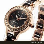 【レディース仕様】★ゴールドブラック ラインストーン レディース腕時計 DNS2【保証書付】