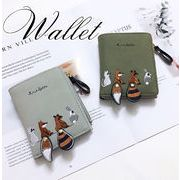 BLHW154761◆5000以上【送料無料】◆大人可愛い配色 刺繍 可愛い動物 財布 サイフ